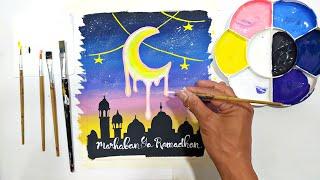 Cara Menggambar Poster Marhaban Ya Ramadhan