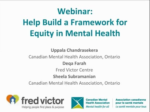 Building a Framework to Advance Equity in Mental Health in Ontario