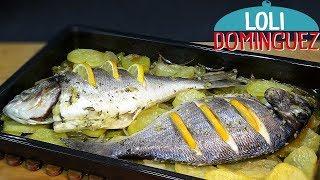 Dorada al horno con patatas ESPECIAL PARA NAVIDAD. Receta fácil. Loli Domínguez