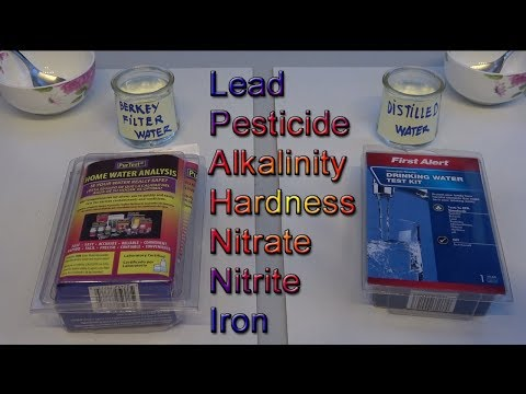 Water quality test: Berkey filter water & distilled water using First Alert & Purtest kits