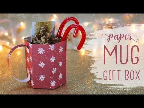 3D Paper Mug Gift Box Tutorial ☕ Craftmas 🎄