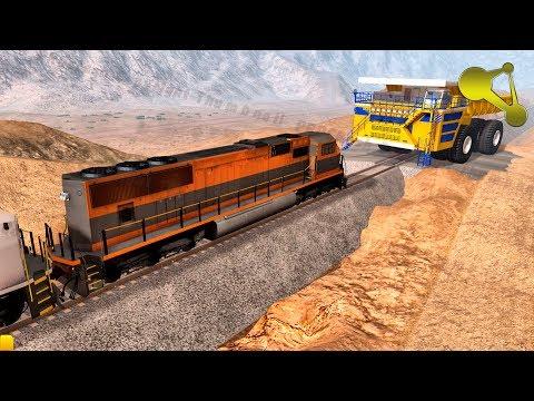 BeamNG.Drive 6 DIESEL Locomotives VS BELAZ (Dump Truck) crash