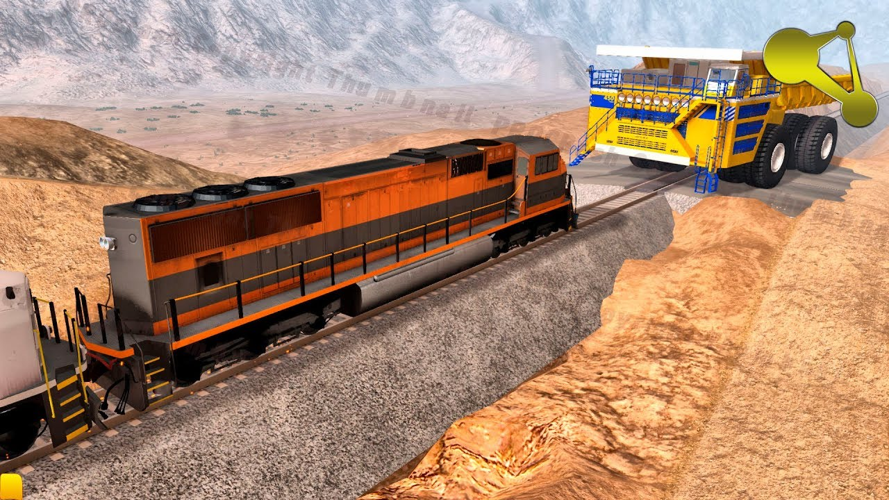 BeamNG.Drive 6 DIESEL Locomotives VS BELAZ (Dump Truck) crash