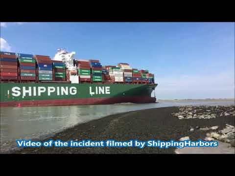 CSCL Jupiter grounding incident in the Antwerp area. 14th August 2017
