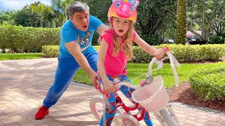 Nastya learns to ride a bike | useful video for children