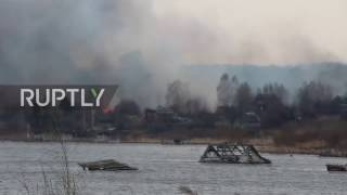Russia: Heavy smoke billows as fire engulfs Tulun village
