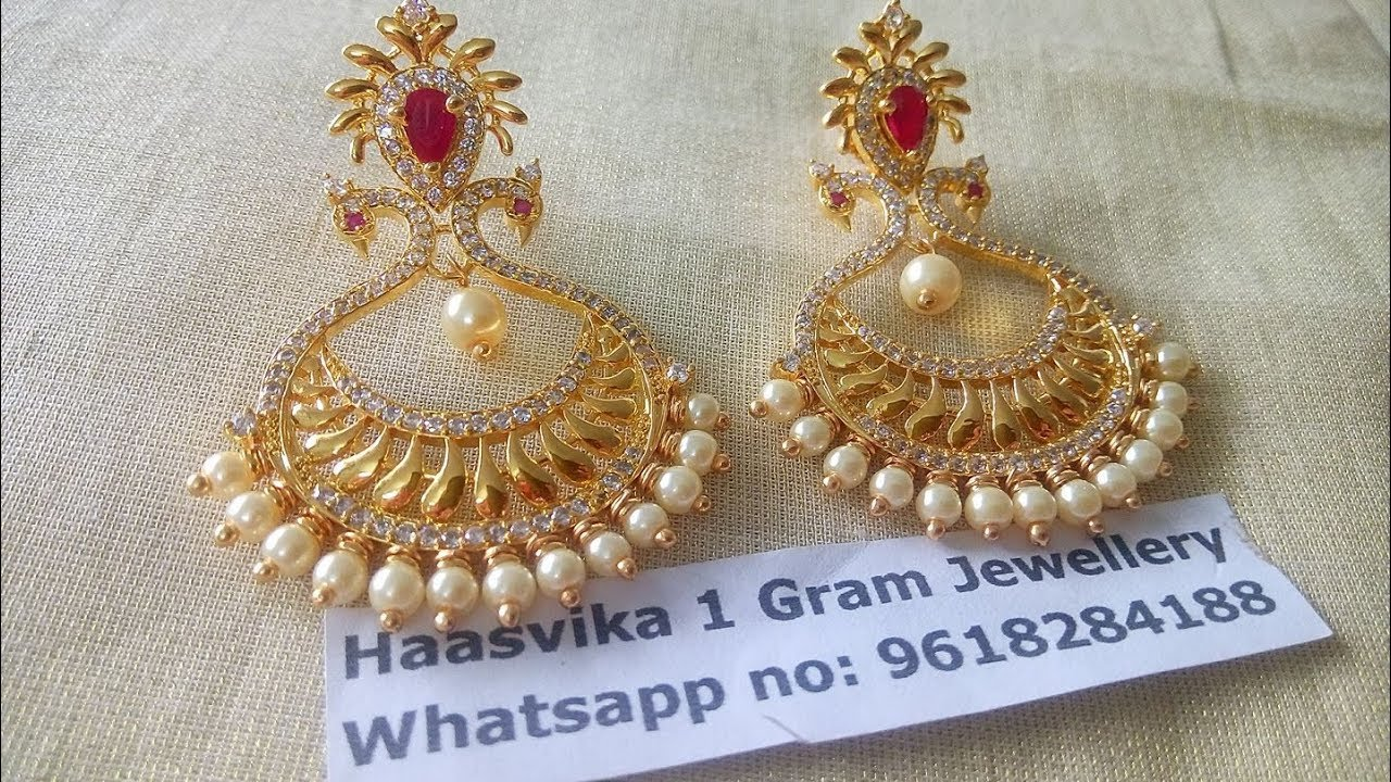 Light Weight One Gram Gold Earring Designs With Phone Number