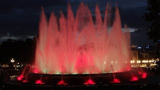 The magic fountain in barcelona was built 1929. evenings, artistic shows combining water, light and sound take place here.