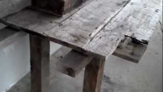 custom antique hand hewn rustic table for sale