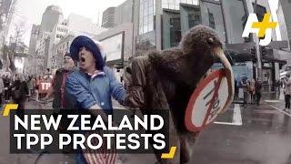 New Zealanders March Against Secret TPP Trade Deal
