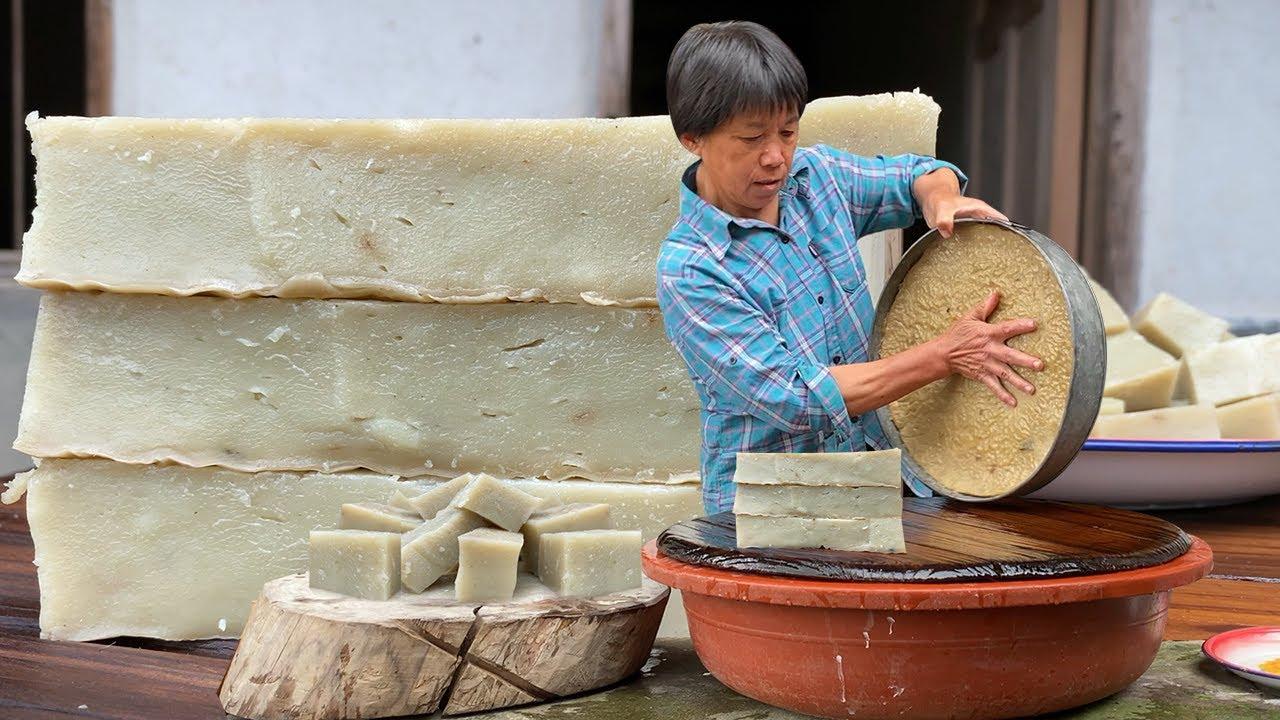 阿嬤用大米做豆腐,塊塊嫩滑爽口,古人美食智慧沿用至今!【閩湖阿嬤Fujian Grandma】