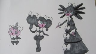 How to draw Pokemon: No.574 Gothita, No.575 Gothorita, No.576 Gothitelle