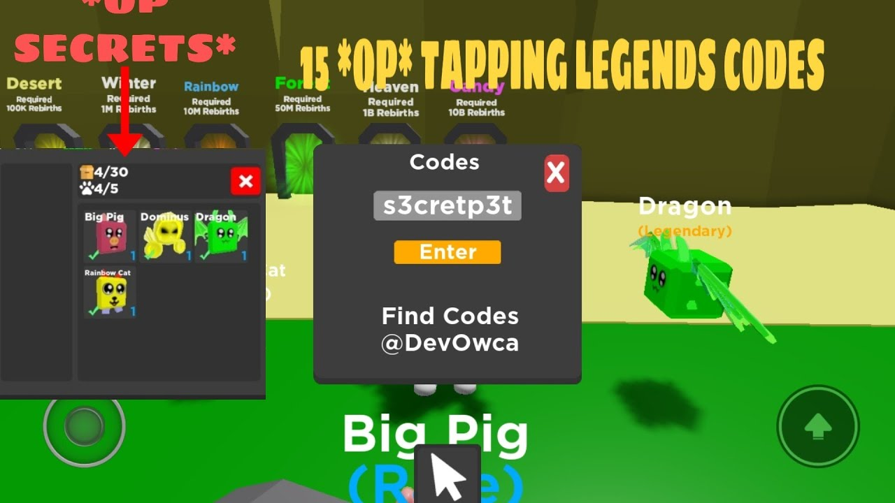15 *OP* CODES IN TAPPING LEGENDS (I GOT INSANE PETS ...