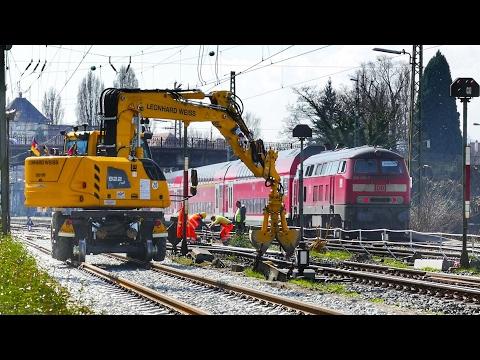 Gleisbauarbeiten im Inselbahnhof Lindau und viel Dieselpower !!