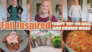 FALL INSPIRED THRIFT TRY-ON HAUL +  DINNER AND DESSERT  COPYCAT WENDY&#39S CHILI RECIPE  APPLE CRISP