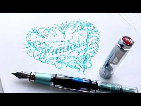 【 鋼筆試寫 】三文堂DIAMOND580 陽極藍綠鋼筆 - YouTube