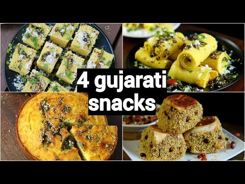 4 easy & quick gujarati snacks recipes | गुजराती नाश्ते की रेसिपी | healthy gujarati snacks