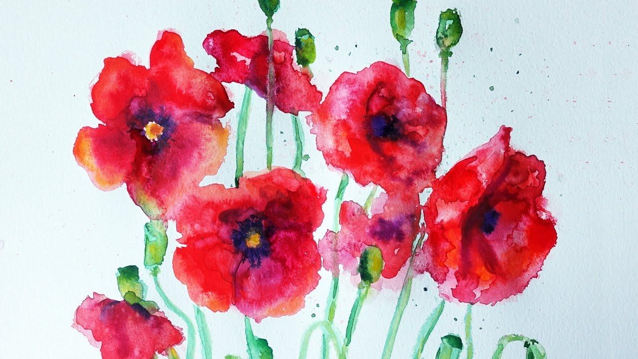 Watercolor poppies tutorial speed painting youtube watercolor poppies tutorial speed painting mightylinksfo