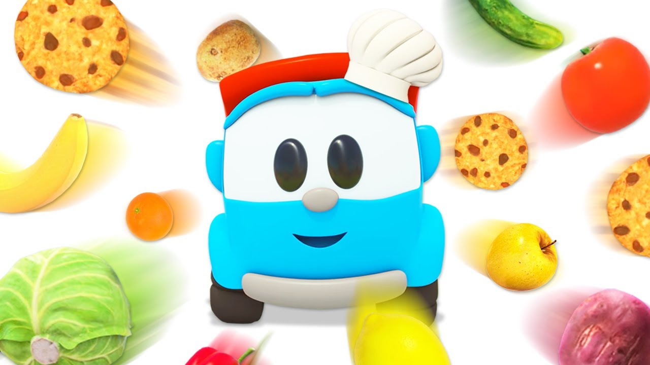 Sing with Leo the truck! Baby Shark nursery rhymes. Learn vegetables and fruit with baby songs.