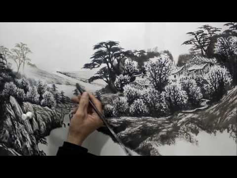 Chinese landscape painting by Zhang Guomin Artist Part 2/2