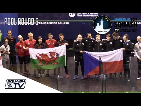 Squash: Wales v Czech Republic - Men's World Team Champs 2017 - Pool Rd 3 Highlights