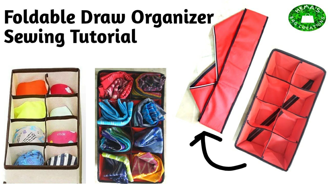 DIY How To Sew Foldable Drawer #Organizer#Storage Box/8 Pocket #Drawer Organizer/#Closet Organizer