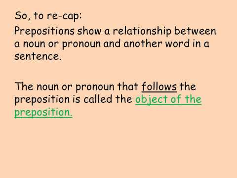 Lesson 1   Prepositions and Prepositional Phrases