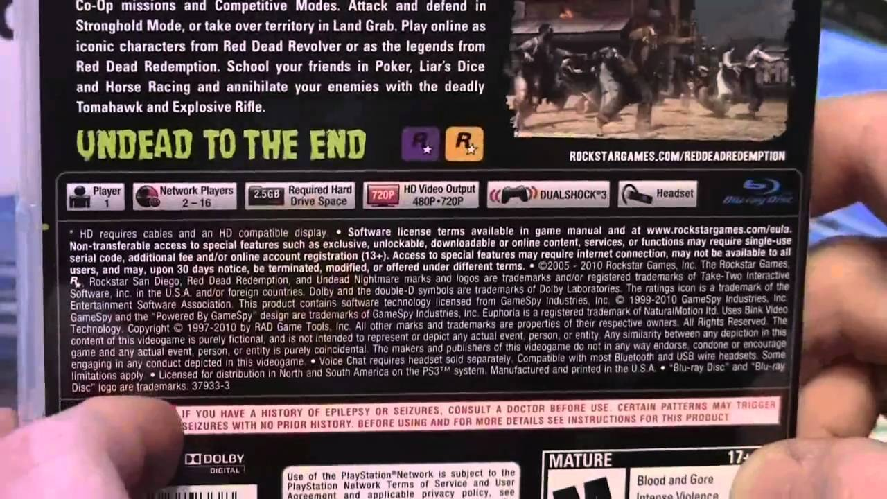 Red Dead Redemption Undead Nightmare Ps3 Unboxing Youtube