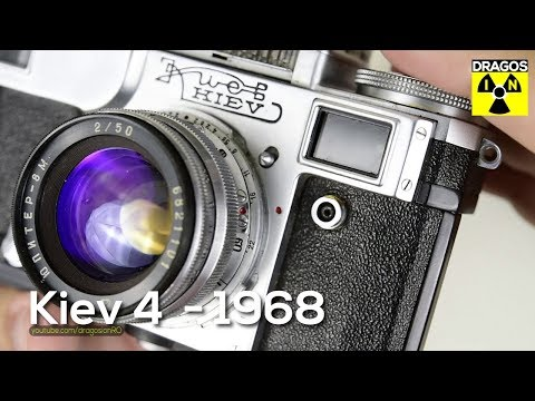 Kiev 4 Film Camera from 1968 a Russian Soviet Era Rangefinder Camera - close look, cleaning