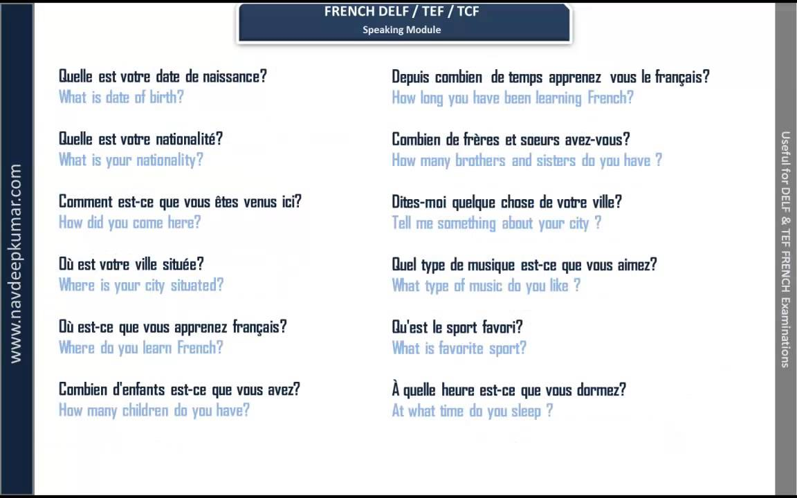 French DELF Speaking Module Questions YouTube