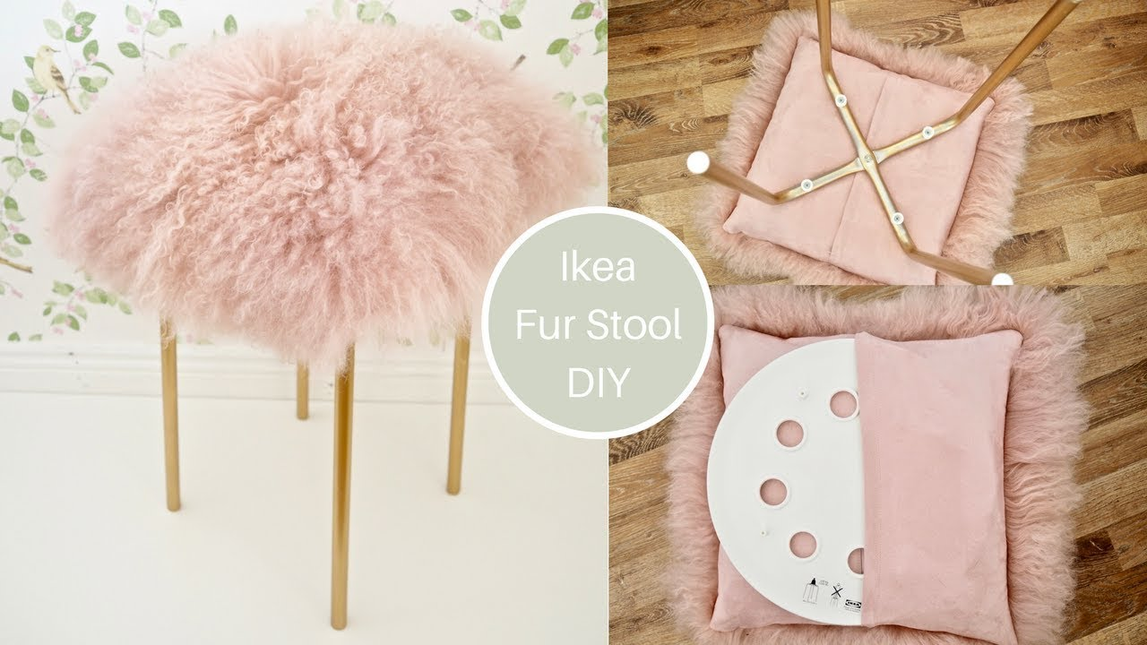 Ikea Marius Hack Pink Mongolian Fur Stool Diy With Gold