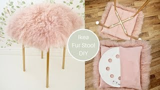 Ikea Marius Hack, pink mongolian Fur stool DIY with gold legs