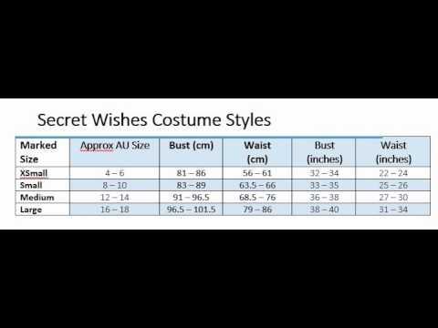 Rubies Secret Wishes Costume Size Chart