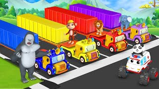Transporter Truck \u0026 Monster Truck Parking Competition - Elephant Wins Game 3D Funny Animals Games