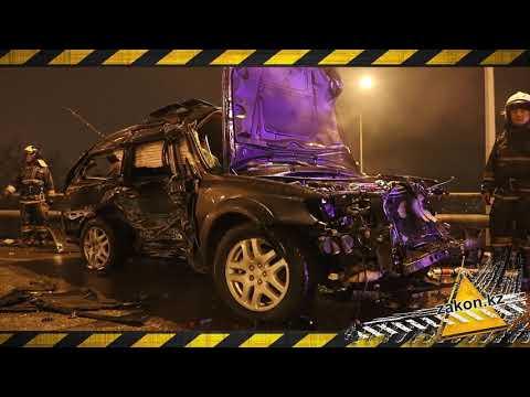 Жесткое столкновение Subaru и Nissan в Алматы