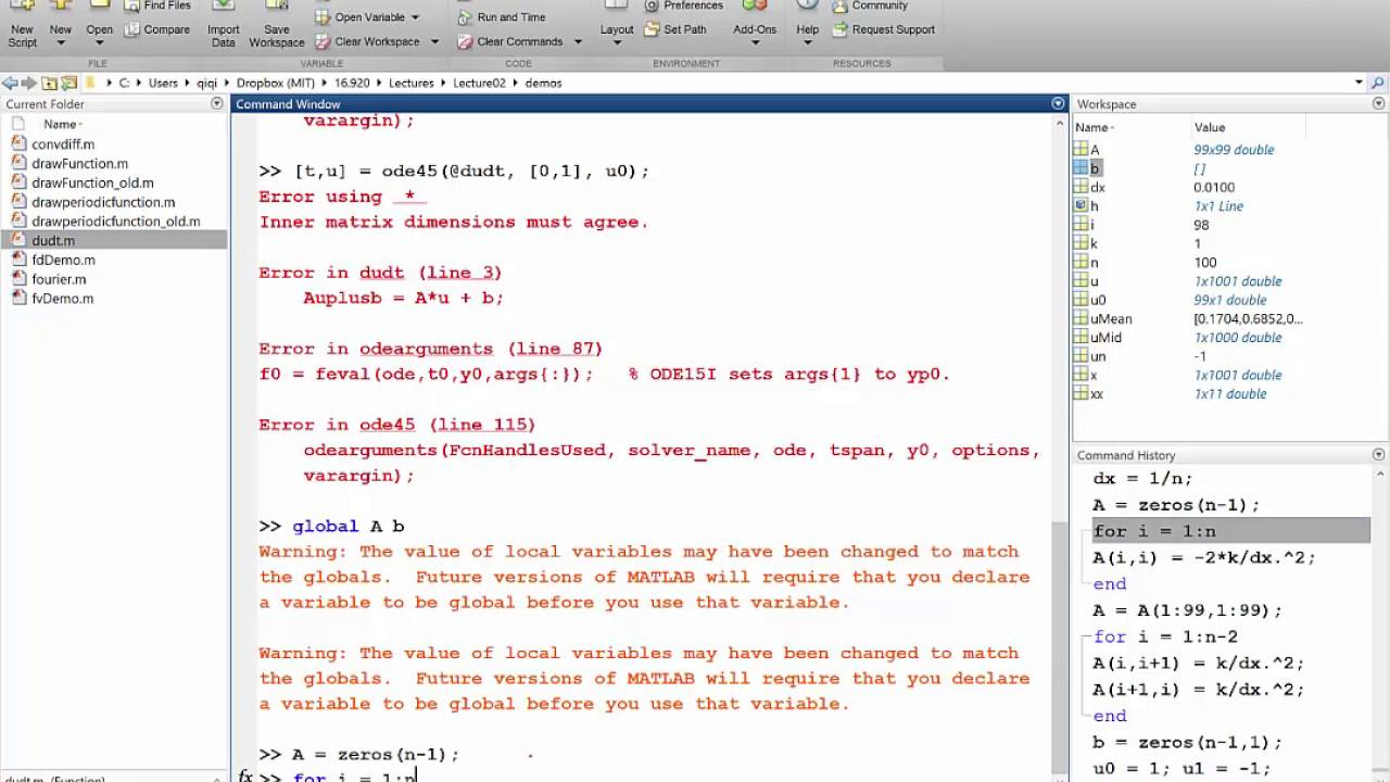 Lecture 02 Part 5: Finite Difference for Heat Equation Matlab Demo, 2016  Numerical Methods for PDE