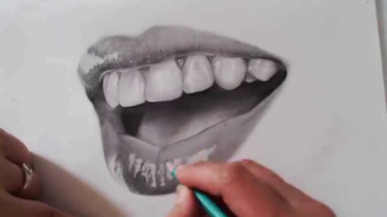How to draw realistic mouth - YouTube