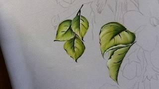 Pintura em Tecido Passarinhos com Flores do Campo – Parte 01 Folhas