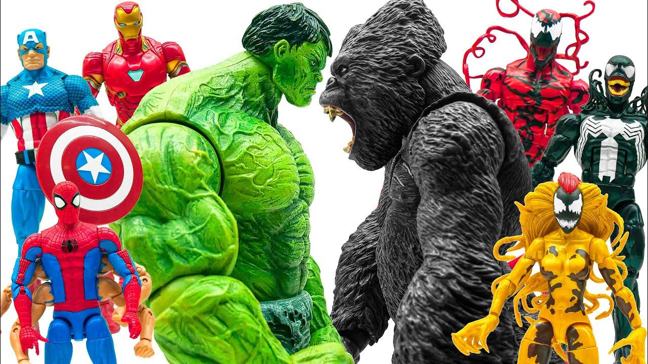 Avengers vs Venom Team~! King Kong \u0026 Hulk Battle Toys Play Time Action Figure Collection