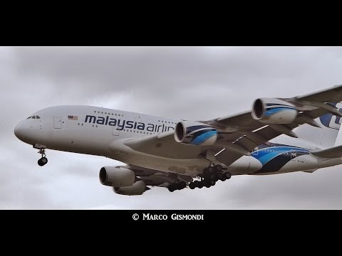 Malaysia Airlines A380-841 crosswind landing at Heathrow 27L
