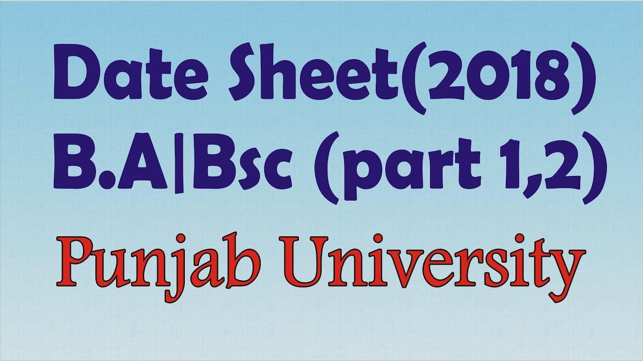 B A/Bsc Date Sheet of PU 2018