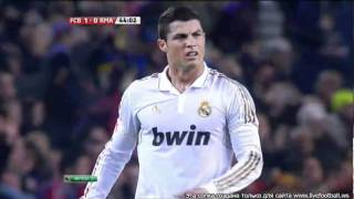 Barcelona-R. Madrid 25.1.2012 Ronaldo indisposed by Pedro goal (Ronaldo crying).