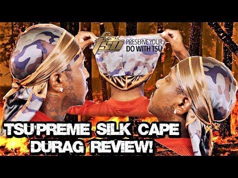 NEW ( TSU'PREME SILK CAPE DURAG ) REVIEW! **THE BEST SILK DOUBLE SIDED DURAG CRAZY COMPRESSION**