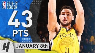 Klay Thompson EPIC Highlights Warriors vs Knicks 2019.01.08 - 43 Pts, 2 Rebounds!