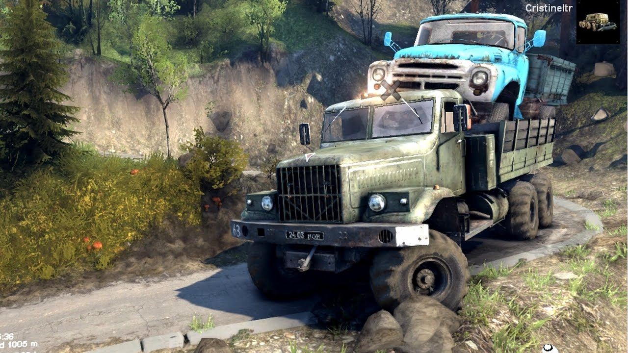SPINTIRES 2014 - The Hill Map - Kraz Transporting the Zil 130 Truck on