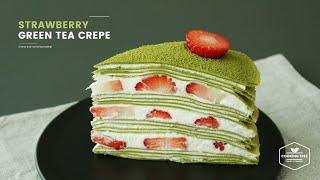 노오븐! 딸기 녹차 크레이프 케이크 만들기:Strawberry green tea(Matcha) crepe cake Recipe:イチゴ緑茶クレープケーキ-Cookingtree쿠킹트리