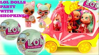 LOL DOLLS SURPRISE SERIES 2 WAVE 2,LOL DOLLS GO PARTY WITH SHOPKINS, LOL TINKLER AND CRIER LOL DOLLS