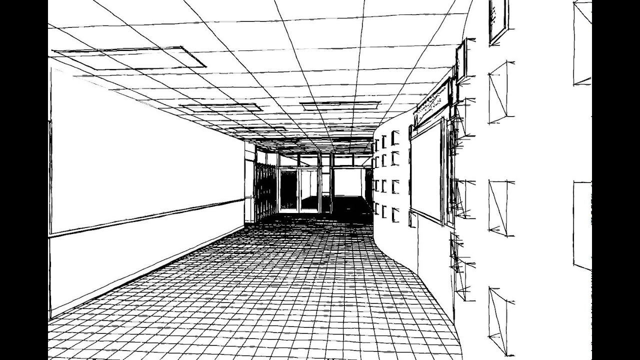 Interior design hall proposal line drawing walkthrough for Drawing hall interior decoration
