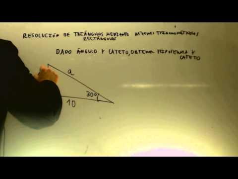 Resolucion Triangulos rectangulos Dado cateto y angulo Matematicas Acceso CFGS cademia Usero