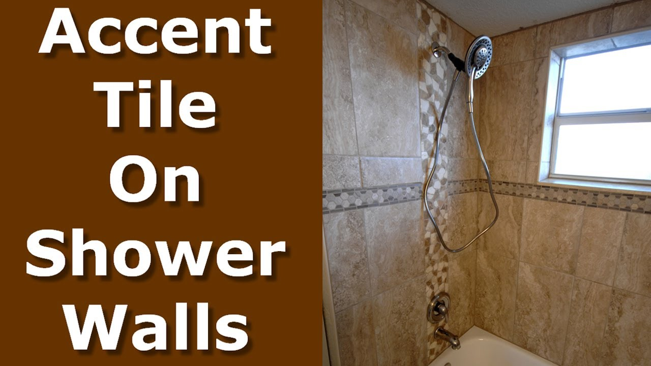 How To Install Shower Accent Tile Wall Border Trim Youtube